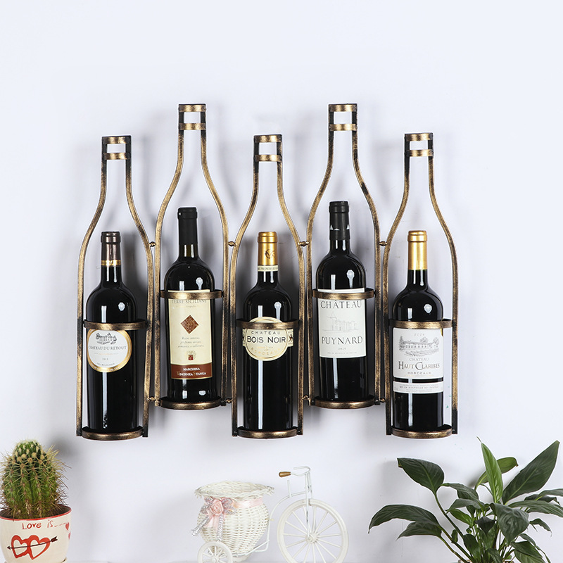 European style red wine rack wall hanging living room ...