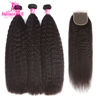 브라질 곱슬 스트레이트 자연 색상 3 개 인간의 머리 번들 1 개 레이스 폐쇄 아만다 레미 머리 확장