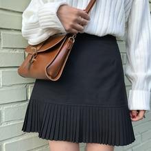 f9a43cd792d Koran Institute Wind High Waist Pleated Skirts Womens 2019 Spring Summer  New A-Line Mini