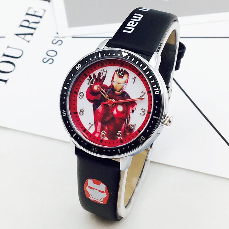 Marvel Hero Cartoon Watch Spiderman Students Kids Watches Leather Quartz Captain America Watch Boys Birthday Gift Children Watch