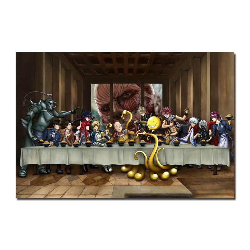 Художественный шелк или холст, Атака Титанов, популярный аниме постер для украшения комнаты 005|Рисование и каллиграфия| | АлиЭкспресс