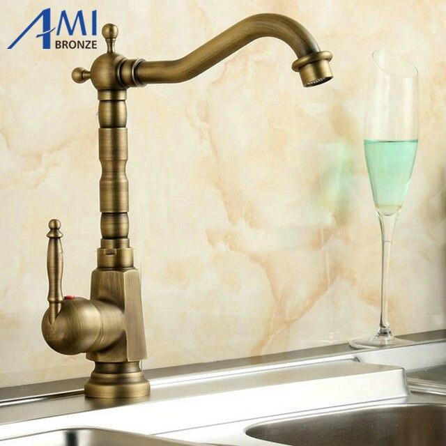 ФОТО Home Improvement Accessories Antique Brass Kitchen Faucet Swivel  Bathroom Basin Sink Mixer Tap Crane 9062A