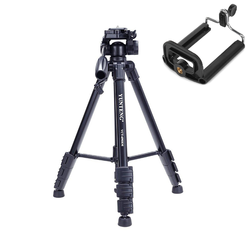 Photo YUNTENG VCT 690 Pro Camera Camcorder Binoculars DV Tripod Damping Head Bag Phone Holder