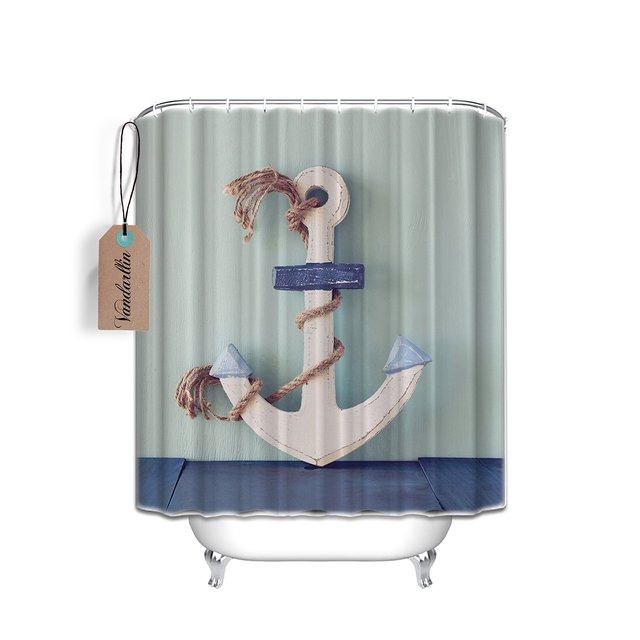 Nautical Anchor Rustic Rope Waterproof Fabric Shower Curtain Set ...