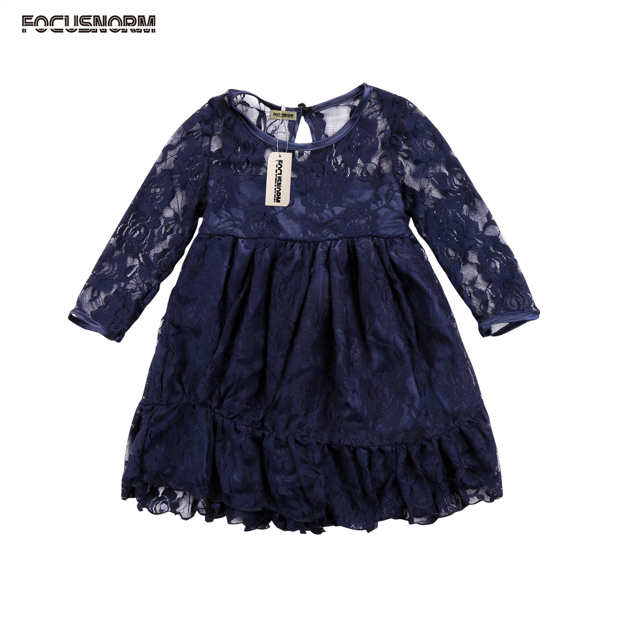 Kids Baby Girls Lace Floral Princess Party Long Sleeves Dress Formal Hollow Out Outfits Clothes Gown long criss cross open back formal party dress