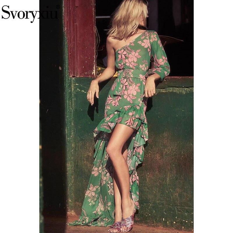 Svoryxiu Sexy une épaule bohème vacances Maxi robe femmes vert fleur imprimé volants asymétrique Swallowtail longues robes