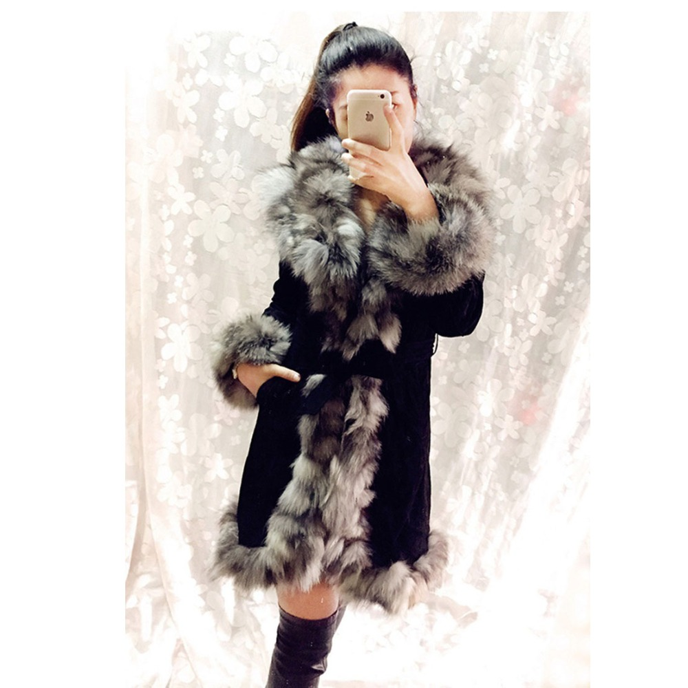 2018 cina All'ingrosso della fabbrica di Vendita Al Dettaglio di Inverno femminile Più Caldo di maiale genuino cappotto di pelle con il real pelliccia di volpe collare outwear donne giacca