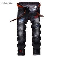 Men Jeans 2018 Ripped Jeans For Men Embroidery Washed Denim Pants Biker Jeans Men Classic Regular Fit Brand Skinny Pants C1480