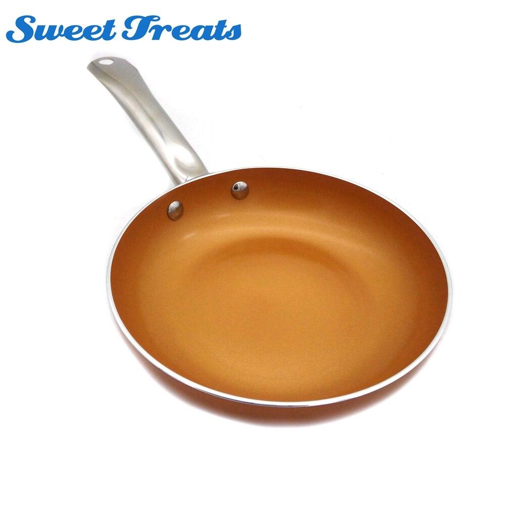 Сладкие угощения 8 дюймов Медь круглая сковорода с антипригарным покрытием индукции обжарить на сковородке Кухня Кухонная посуда, 2.5 мм толщина, мыть в посудомоечной машине