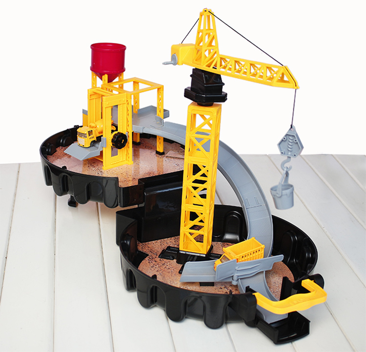Diecast alloy construction site vehicle Engineering Car Classic Toy Parking orbit Dunk Track spiral roller kids toy for children