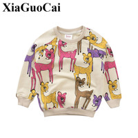 New Baby Girls Hoodies Children's Clothing Kid Sweaters with Cartoon Long Sleeve O neck Sika Deer Print Fashion Girls Costume