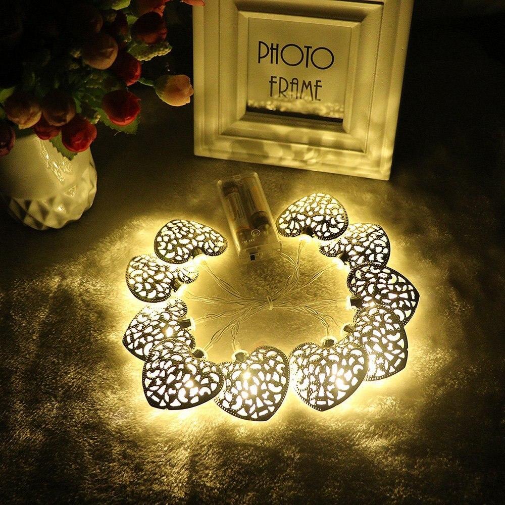 Goud Zilver Metaal Hartvorm Werkt op Batterijen 10 LED - Vakantie verlichting - Foto 3