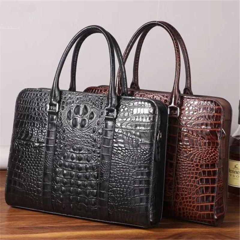 Kaisiludi Crocodile-print Men's And Women's Handbag Leather Computer Briefcase Business Shoulder Fashion Large-capacity Satchel