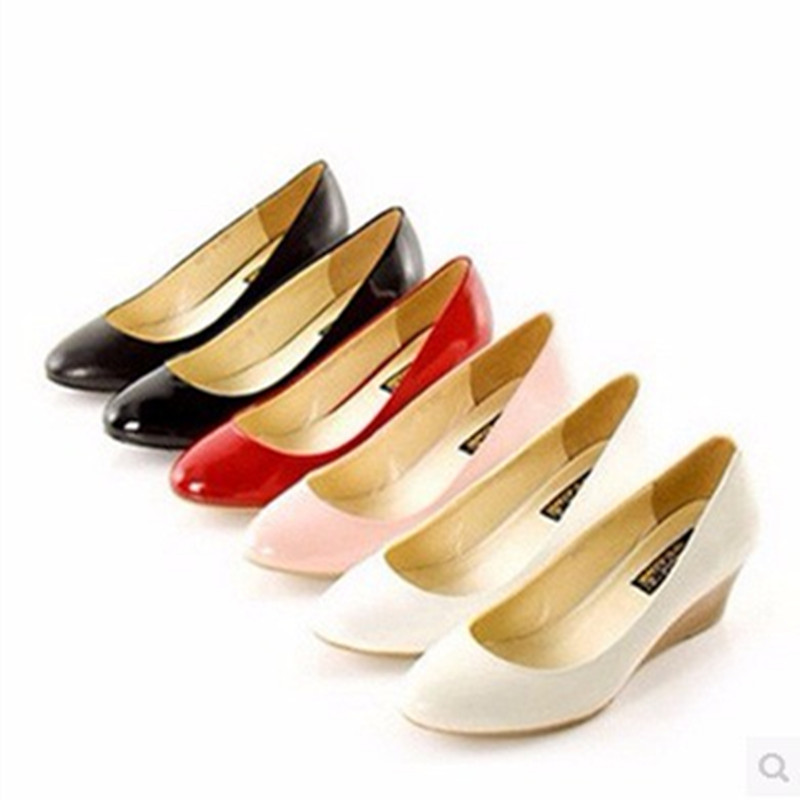 ФОТО Ladies big sizes (4 -16)Plain Hand-made Casual Round toe genuine Patent leather Wedges high Wood grain heeled shoes Women pumps