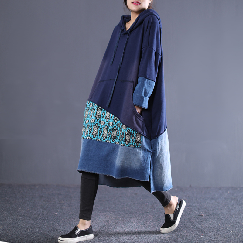 New 2019 female new spring plus size dress literary casual retro knit denim stitching long loose