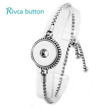 6Pcs/lot Adjustable Snap Button Bracelet 18mm Metal Bloom Button Charms Jewelry Bracelet For Women Snap Buttons Jewelry P01038(China)