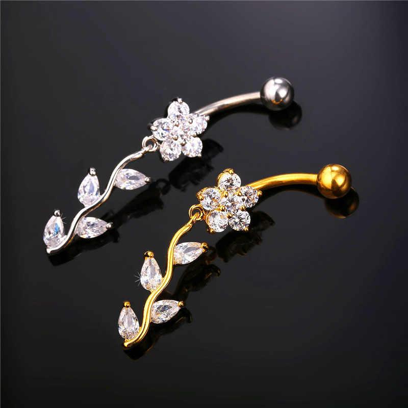 Kpop תכשיטי גוף טבעת טבור גביש פרח נשים ארוך זהב צהוב/צבע כסף רומנטי תכשיטי טבור פירסינג YDB298