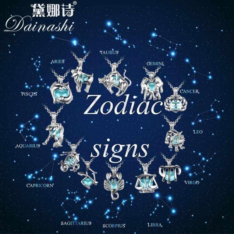 มาใหม่ 12 Constellation กรงไข่มุกจี้สร้อยคอผู้หญิงงานแต่งงานเครื่องประดับที่ไม่ซ้ำกัน Zodiac จี้ครอบครัวจี้
