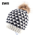 Moda brand plover case winter women hat beanies female hand-crocheted wool caps knitted cap Imitation fur ball hats for women
