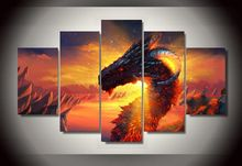 Framed Printed cartoon Anime game Dragon Group Painting children's room decor print poster picture canvas wall decor art canvas