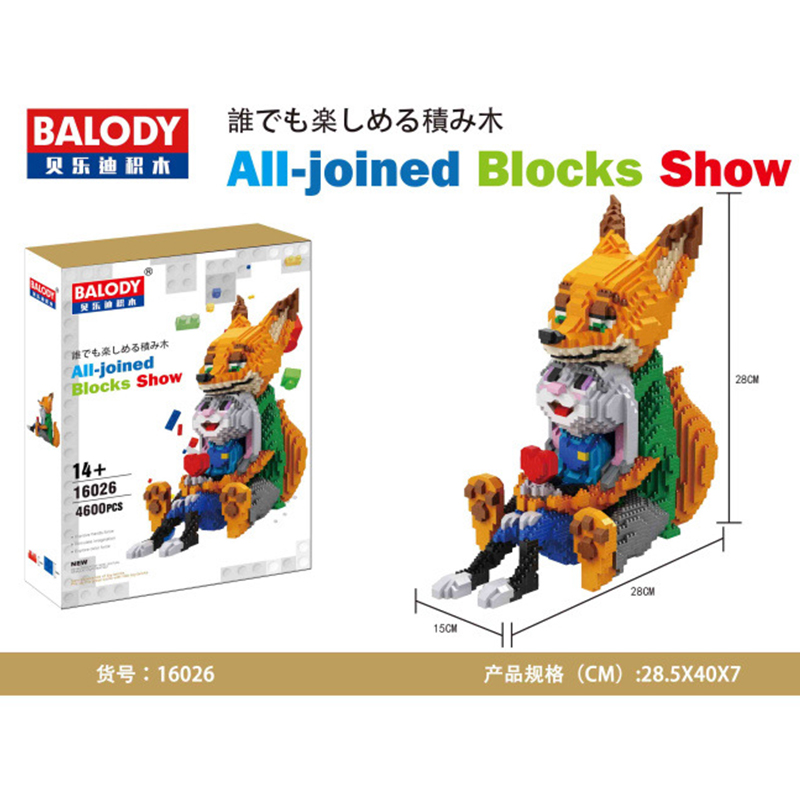 Balody Diamond Blocks cute Rabbit Fox Model Plastic Building Toy Stitch Auction Figures Brinquedos for Children