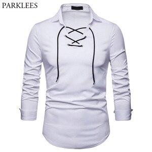 Image 1 - Scottish Jacobite Ghillie Kilt Shirt Men Chemise Homme 2018 Fashion Slim Fit Solid Color Long Sleeve Tuxedo Dress Shirt Mens Top