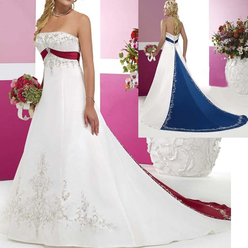 Blue And White Wedding Gowns: Popular Royal Blue And White Plus Size Wedding Dresses-Buy