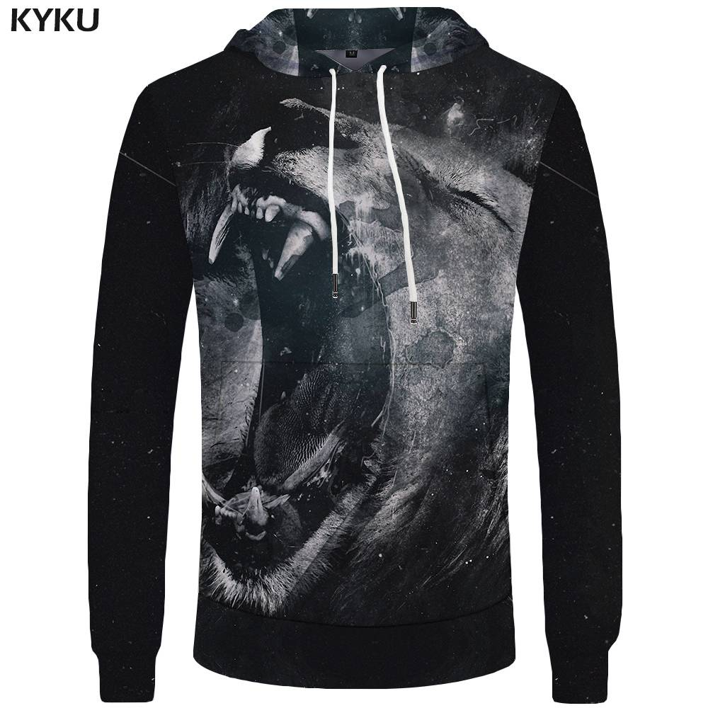 KYKU Brand Lion Hoodies Men Animal Big Size Black Pocket Art Hoddie Sweatshirt Sweatshirts 3d Hoodies Cool New Print