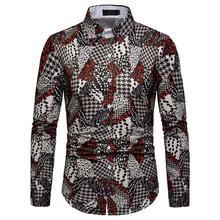 Long-sleeved Blouse Men Shirt Plaid Fashion Pattern Slim fit Casual Hawaiian Shirt Men New casual slim fit zip fly long plaid pants for men