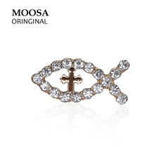 MOOSA Trendy Design Fashion Fish Brooch with Rhinestones for Women Jewelry Birthday Party Gifts