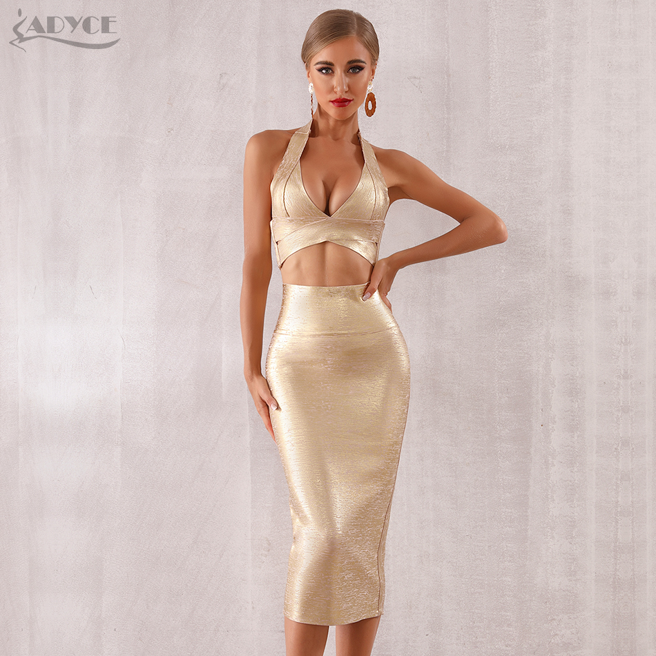 ADYCE 2019 New Summer Women Bodycon Bandage Sets Dress Vestidos 2 Two pieces Set Top Gold