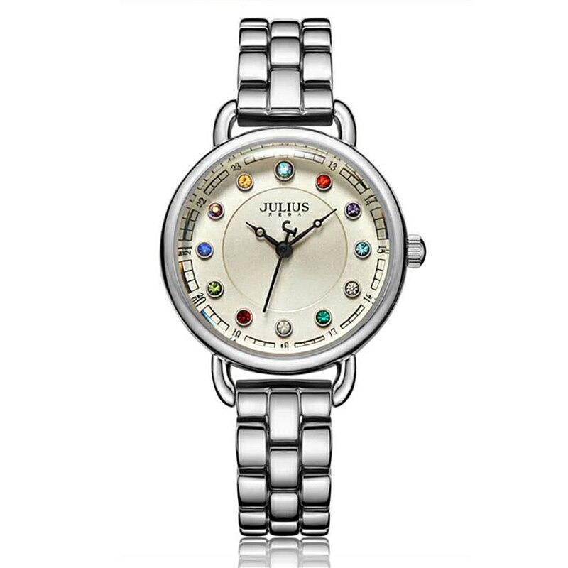 Новый Для женщин Японии кварцевые часы женские часов тонкой моды 12 Цветов Кристалл Камень браслет для девочек Рождественский подарок Julius к...