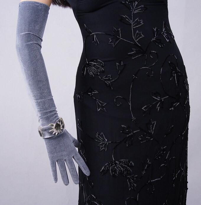 Women'a Fashion Sexy Slim Velvet Touch Screen Glove Lady's Club Performance Formal Party Elastic Long Gray Glove 60cm R608