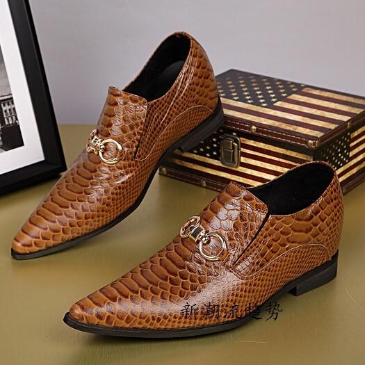 Puntschoen Nieuwe Oxford Slangenleer Schoenen Bruin 2015 Mannen vnqgxFP