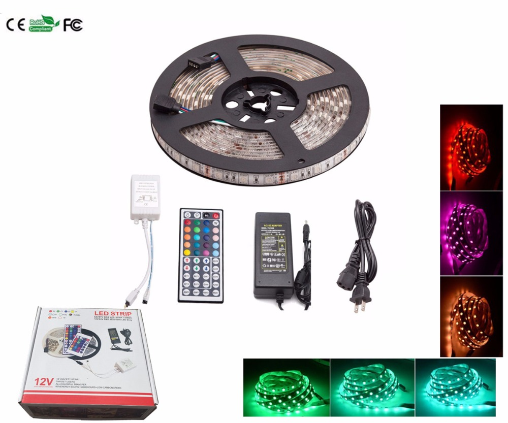 5 set rgb led light strip kit waterproof 5050 5 m 300 led 5 set rgb led light strip kit waterproof 5050 5 m 300 led flexible led light strip lamp 44 key control 5a power adapter in led strips from lights aloadofball Images