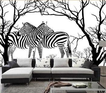 Papel pintado DE cebras personalizado, murales DE cebra anaglifo blanco y negro Árbol Abstracto para sala DE estar papel DE pared del dormitorio