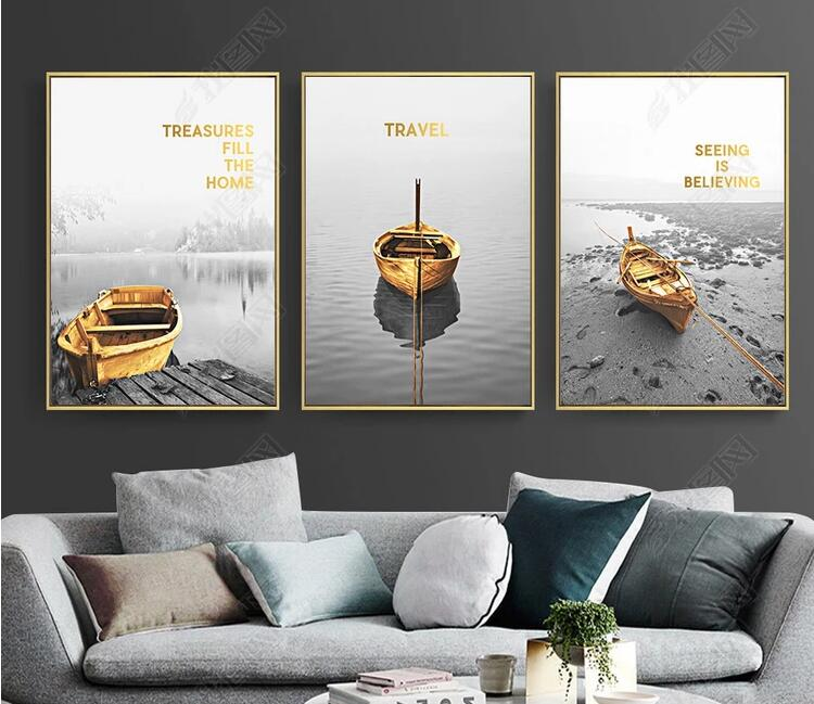 US $2 5 |2018 Nordic Yellow Boat Canvas Paintings Wall Art Nordic Poster  Prints Pictures For Living Room Home Decor T140-in Painting & Calligraphy