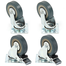 Set of Heavy Duty 125x27mm Rubber Swivel Castor Wheels Trolley Caster Brake 100KGModel 2 with brake