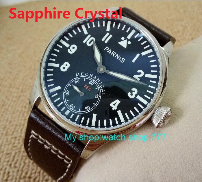 2017 new fashion Sapphire Crystal 44mm PARNIS black dial 6498 Mechanical Hand Wind movement men's watch 204A