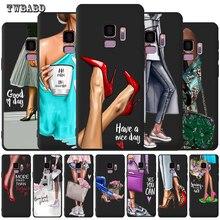 Модный чехол для девочек samsung Galaxy S9 S8 S10 Plus S7 S6 Edge S10 Lite Note9 8 высокий каблук кофейная Цветочная девушка чехол для телефона Etui
