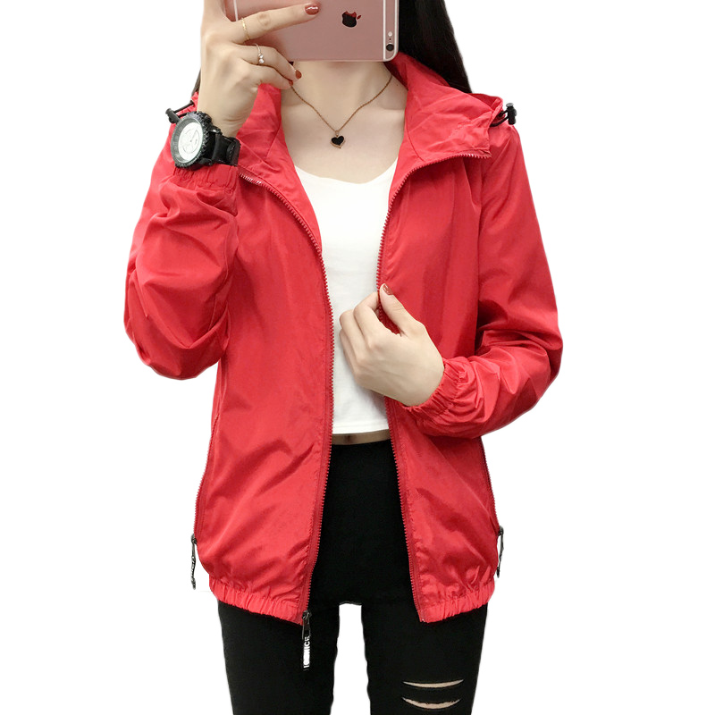 2018 spring autumn women coats loose wild hooded windbreaker female fashion big size S-7XL solid color hooded couples coats