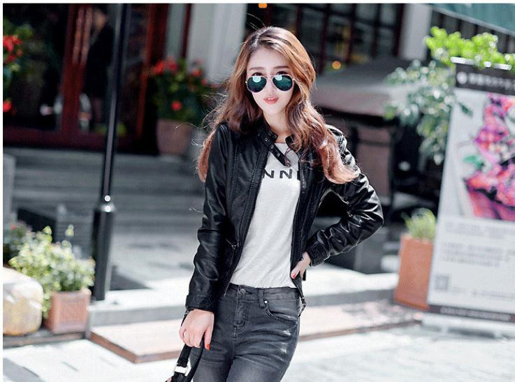 S 6Xl Womens Leather Jackets Large Size Spring Autumn Motorcycle Jacket Short Black Personality Female Pu