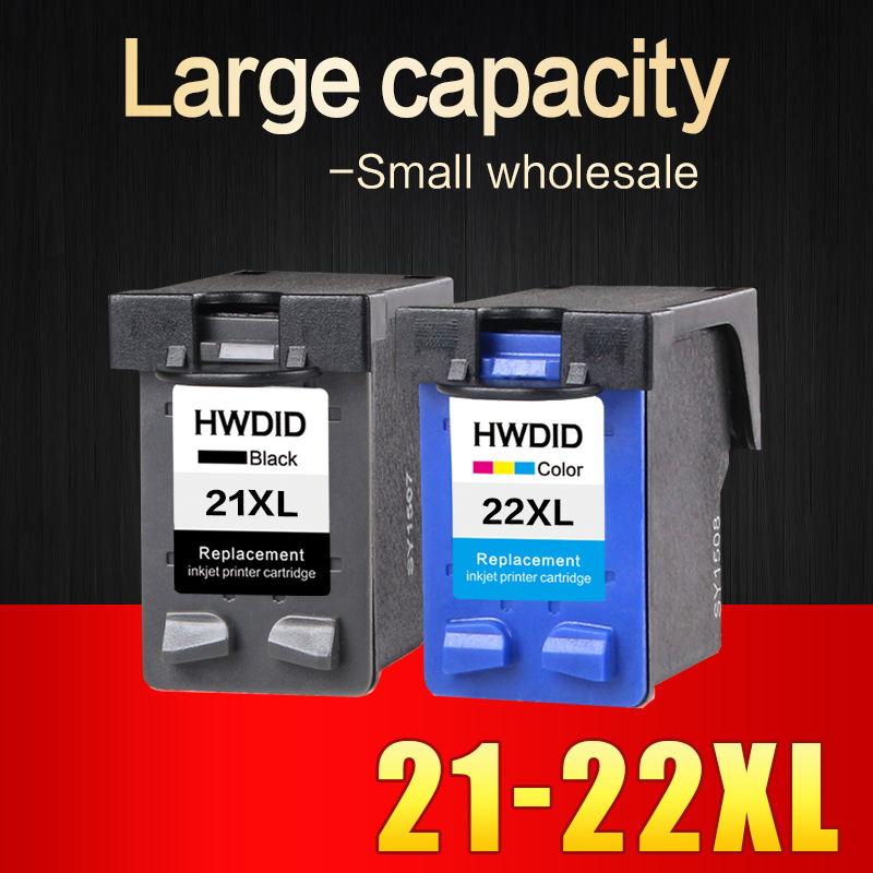 2 Pcs Ink Cartridge for HP 21 22 XL For HP cartridges 21 and 22 for
