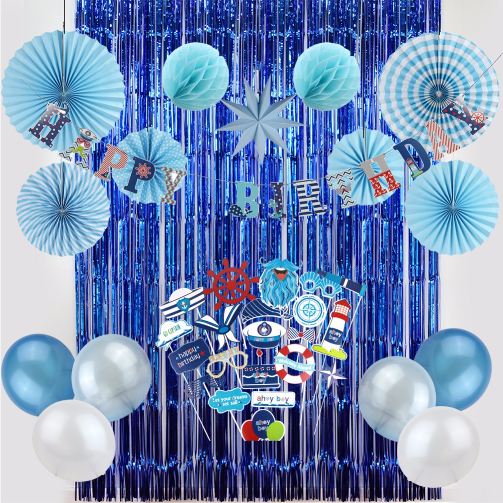 Home Party Decoration: Birthday Party Decoration For Kids Boy Party Supplier Navy