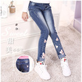 New 2017 hot sell fashionable autumn outfit children girls denim trousers children take cartoon panty cuhk children's pants