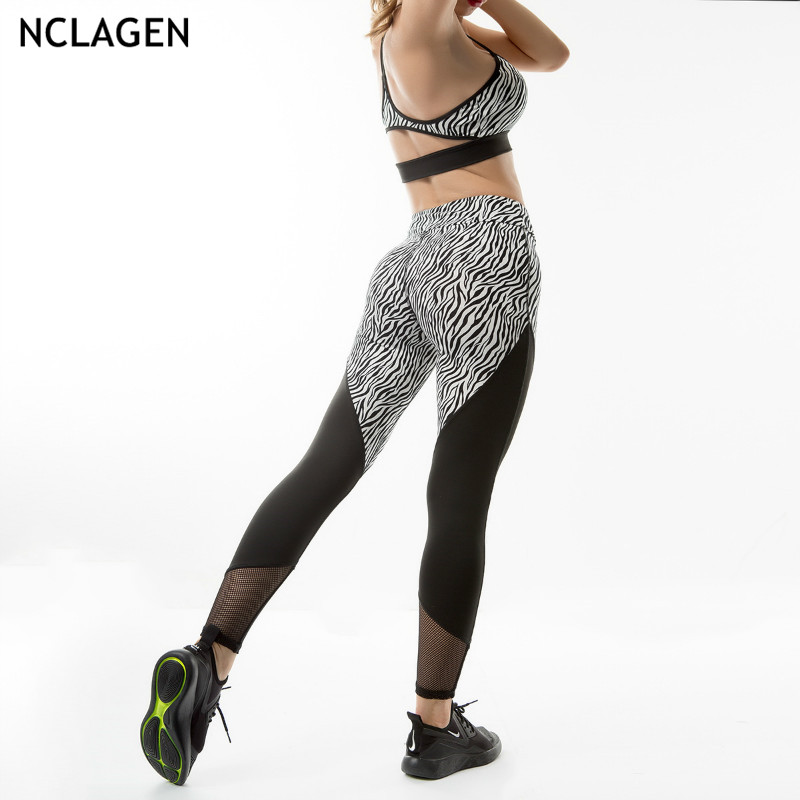 NCLAGEN 2019 Women Sexy Mesh Patchwork Zebra Print Booty Leggings High Waist Pencil Pants Slim Capris Yogaings GYMs Leggings