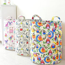 Laundry Storage Basket Cotton Linen 35*45cm Clothing Storage Bag Foldable Kids Toy Laundry Basket Home Sundries Storage