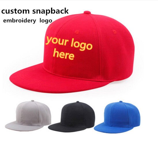 7a514cb6857 wholesale 10pcs snapback caps with embroidery custom LOGO text personalized  hip hop baseball cap hats summer