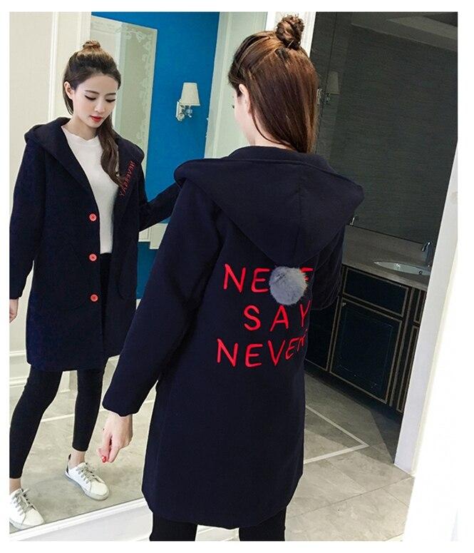 Mode Fema Laine Épaissir Taille Automne Manteau Nouvelles Capuchon De Classique Survêtement Longue À Mince Grande Femmes Veste Lettre Hiver 2018 HwqcF0xS