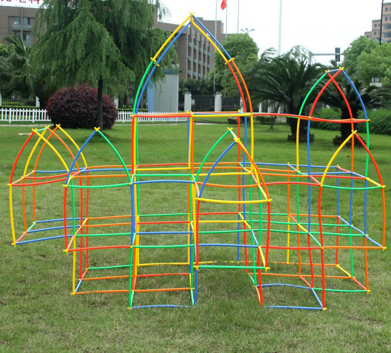 DIY Straw Building Blocks Kids Plastic Stitching Inserted Construction Assembled Baby Bricks Educational Playground Toys Gift